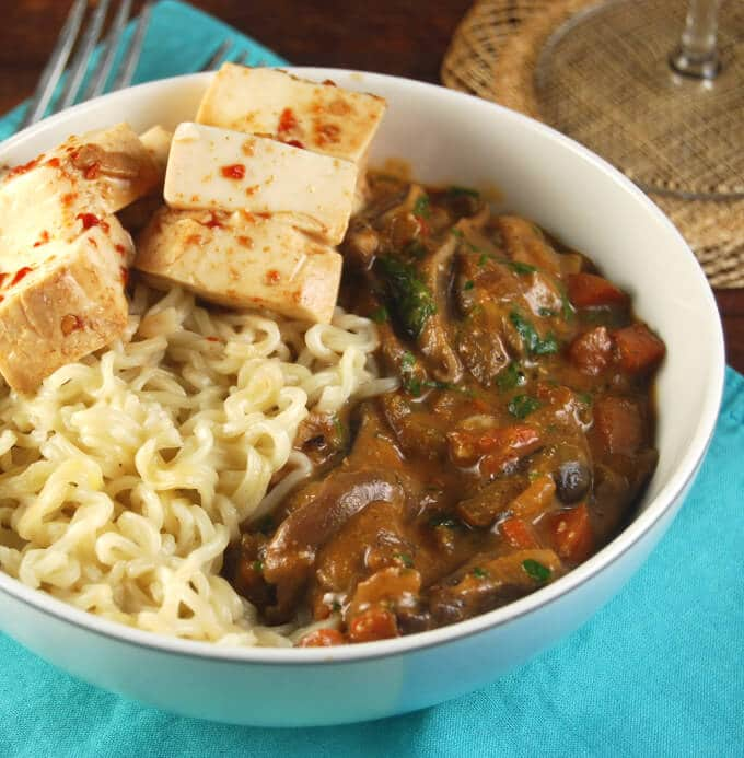 Mushroom Bourguignon with Steamed Tofu and Ramen Noodles