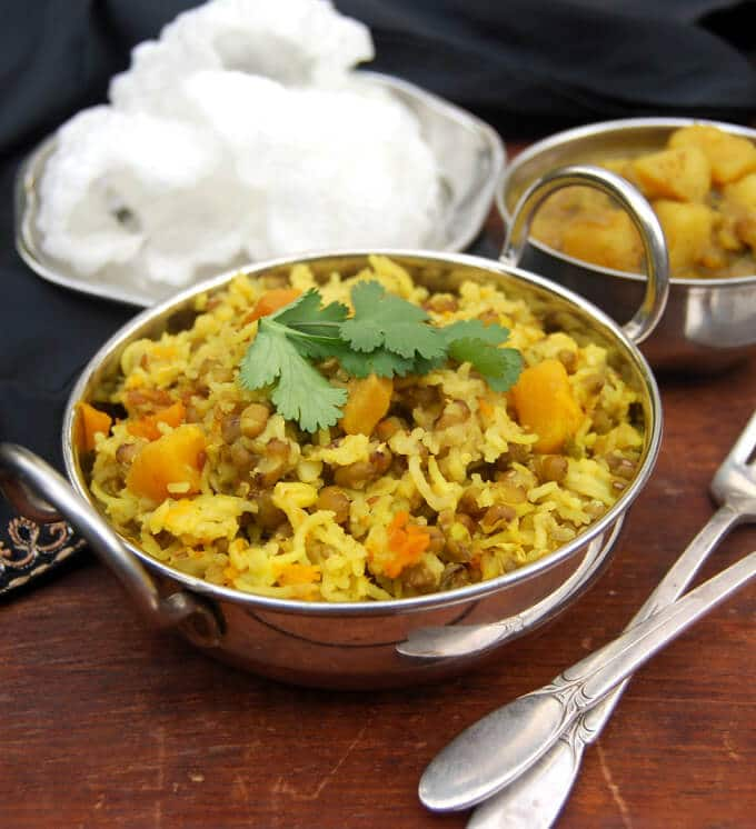 Mung sprouts khichdi with butternut sprouts