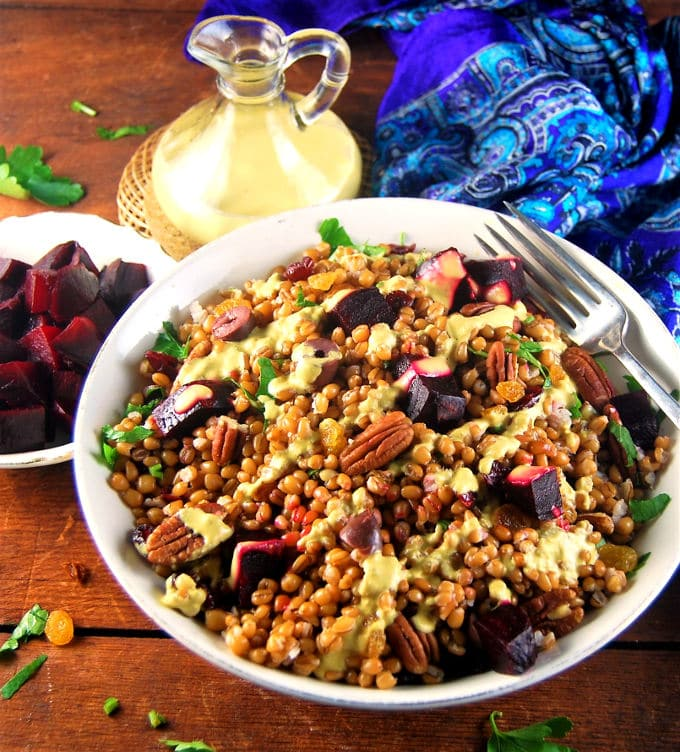 Wheat Berry Salad with Roasted Beets and Curry Cashew Dressing