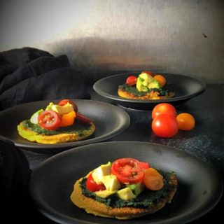 Mini Turmeric Chickpea Crust Pizzas Loaded With Veggies
