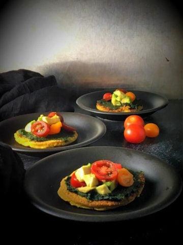 Mini Turmeric Chickpea Pizzas loaded with veggies