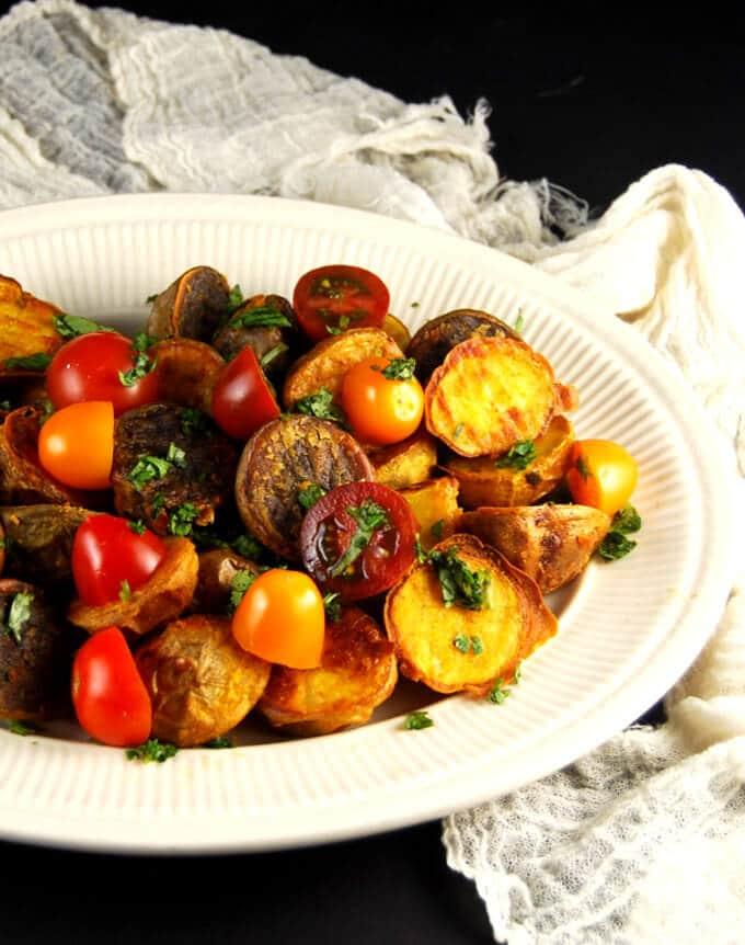 Crunchy Chickpea Roasted Potatoes - holycowvegan.net