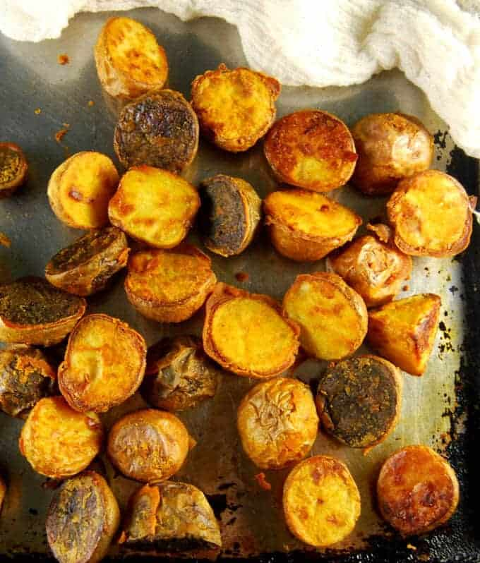 Crunchy Chickpea Roasted Potatoes - holycowvegan.net