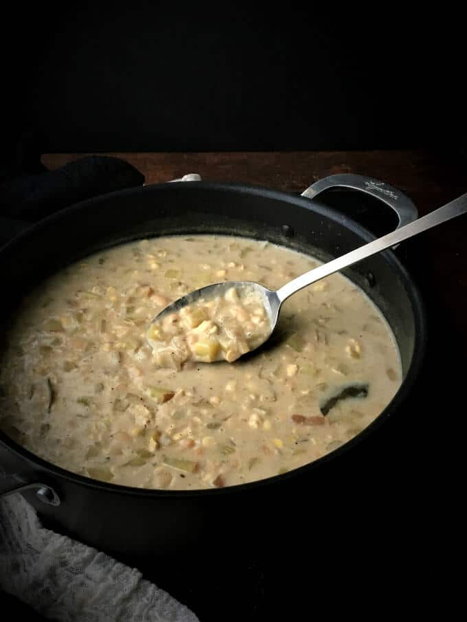 Vegan Chesapeake Chowder in pot