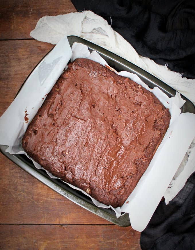 Vegan breakfast brownies with salted caramel hot chocolate frosting