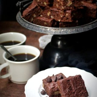 Vegan breakfast brownies with salted caramel hot chocolate frosting, no added oil