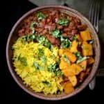 Mixed beans masala bowl with sweet potatoes and turmeric rice