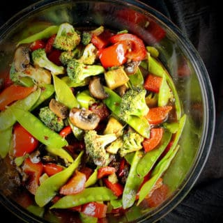 Rainbow Veggie Stir-Fry with Mushrooms, Bell Peppers, Snow Peas and Scallions - holycowvegan.net