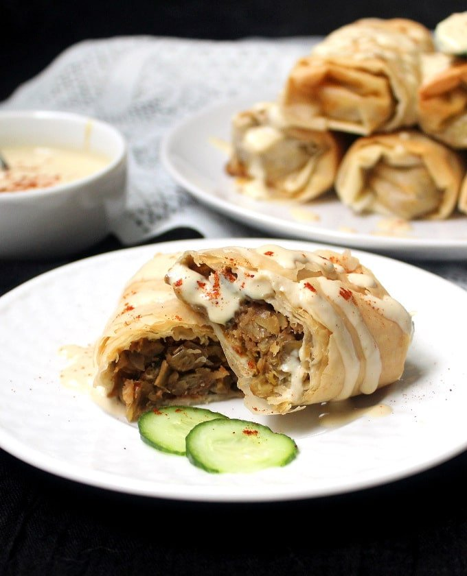Vegan baked chimichangas with filo and lentil stuffing