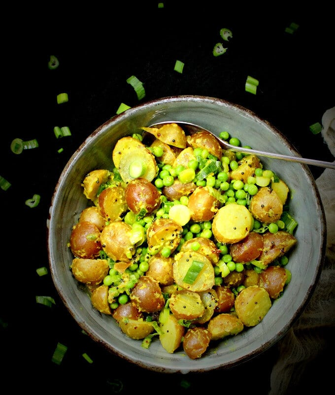 Vegan Indian-style Potato Salad with Turmeric and Green Peas - holycowvegan.net
