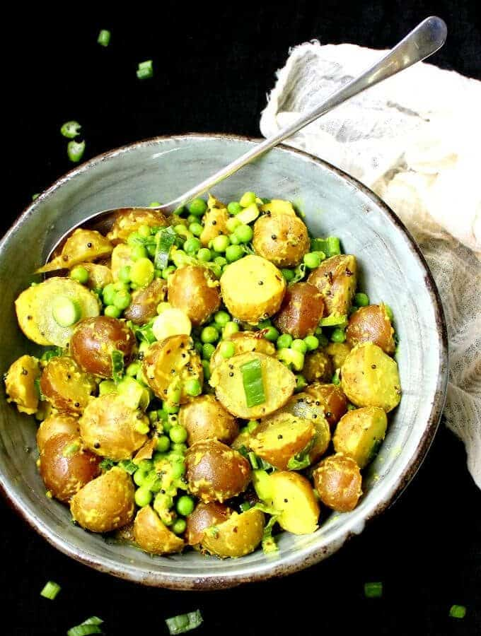 Vegan Indian-style Potato Salad with Turmeric and Green Peas - holycowvegan.net