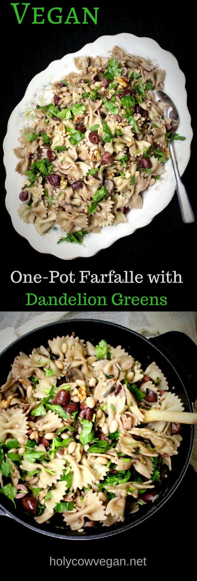 One Pot Pasta with Dandelion Greens and Mushrooms