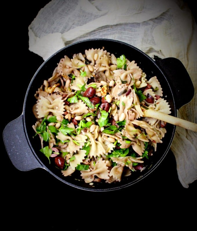 One-Pot Farfalle with Dandelion Greens