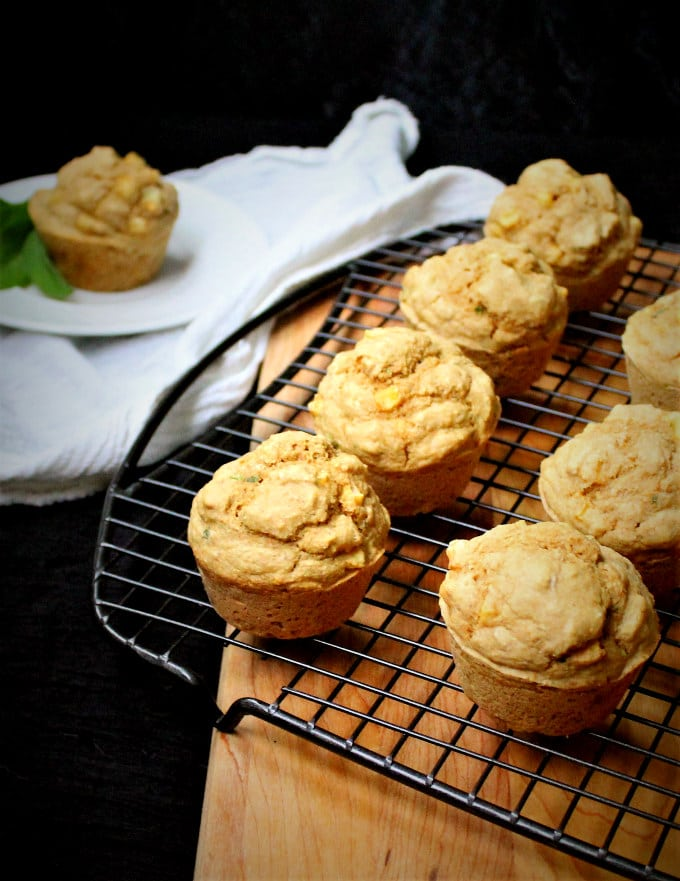 Vegan Savory Corn and Cornmeal Muffins