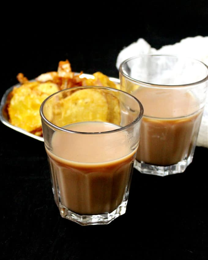 Vegan Cutting Chai, a spicy-sweet chai tea from the streets of Bombay, with pakoras