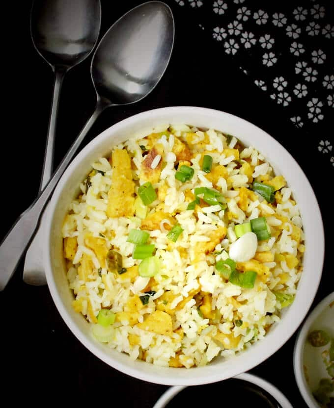 "White bowl of Indo Chinese Fried ""Egg"" Rice 