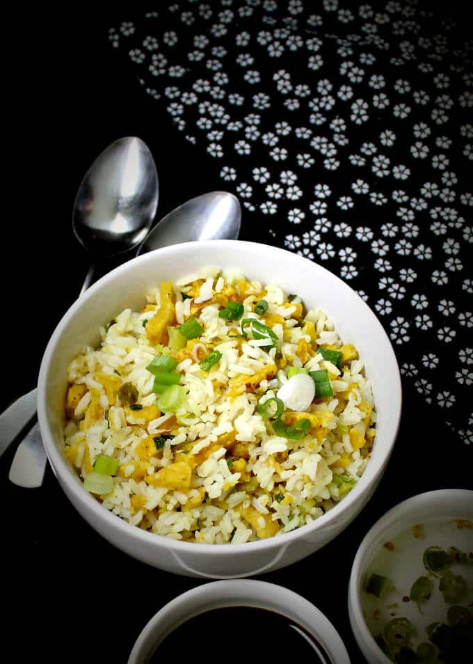 Chinese Egg Fried Rice, Vegan - HolyCowVegan.net