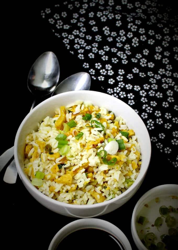 Chinese Egg Fried Rice, Vegan - HolyCowVegan.net