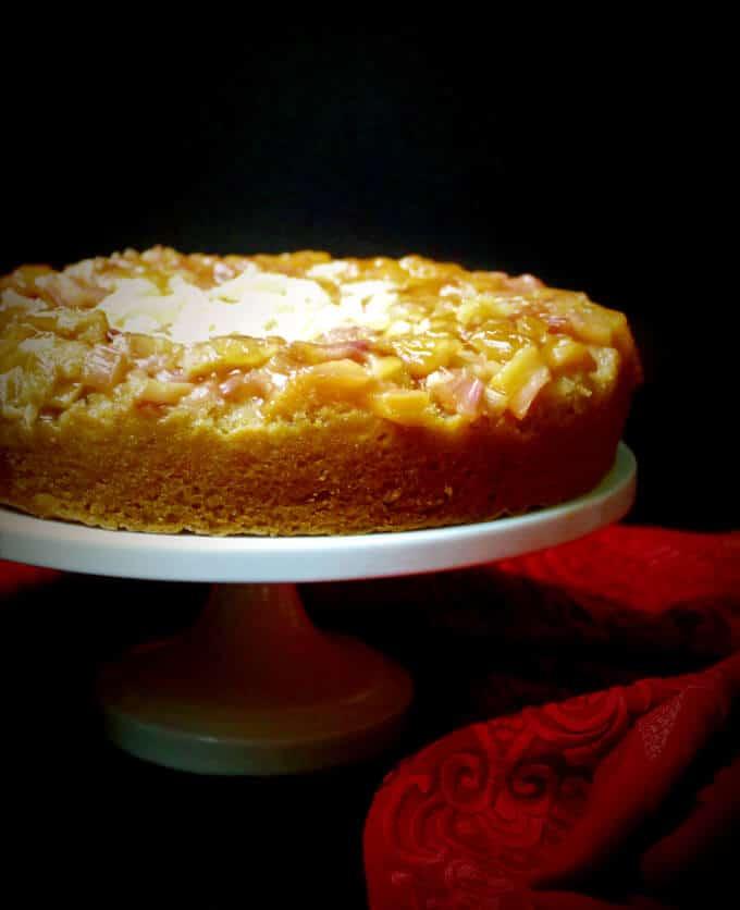 Vegan Rhubarb Ginger Upside-Down Cake