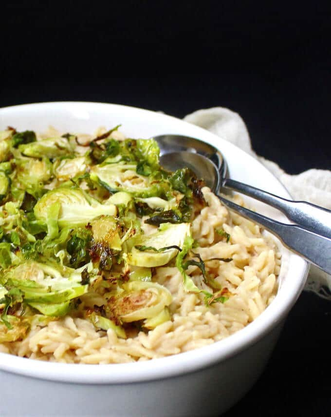 Creamy Vegan Orzo Risotto with Roasted Brussels Sprouts - holycowvegan.net