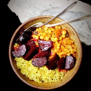 Vegan Curry Sprouts Bowl with Easy Pickled Beets and Minty Brown Rice