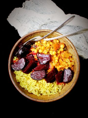 Vegan Curry Sprouts Bowl with Pickled Beets and Minty Brown Rice - HolyCowVegan.net