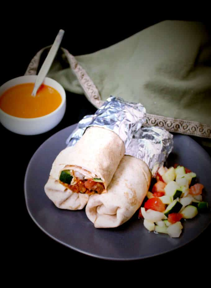 Chipotle Vegan Burrito with Roasted Red Pepper Sauce - holycowvegan.net