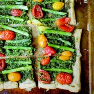 Vegan Puff Pastry Pizza with Kale Pesto and Asparagus