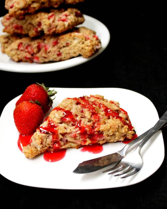 Vegan Strawberry Scones with Rosewater - holycowvegan.net