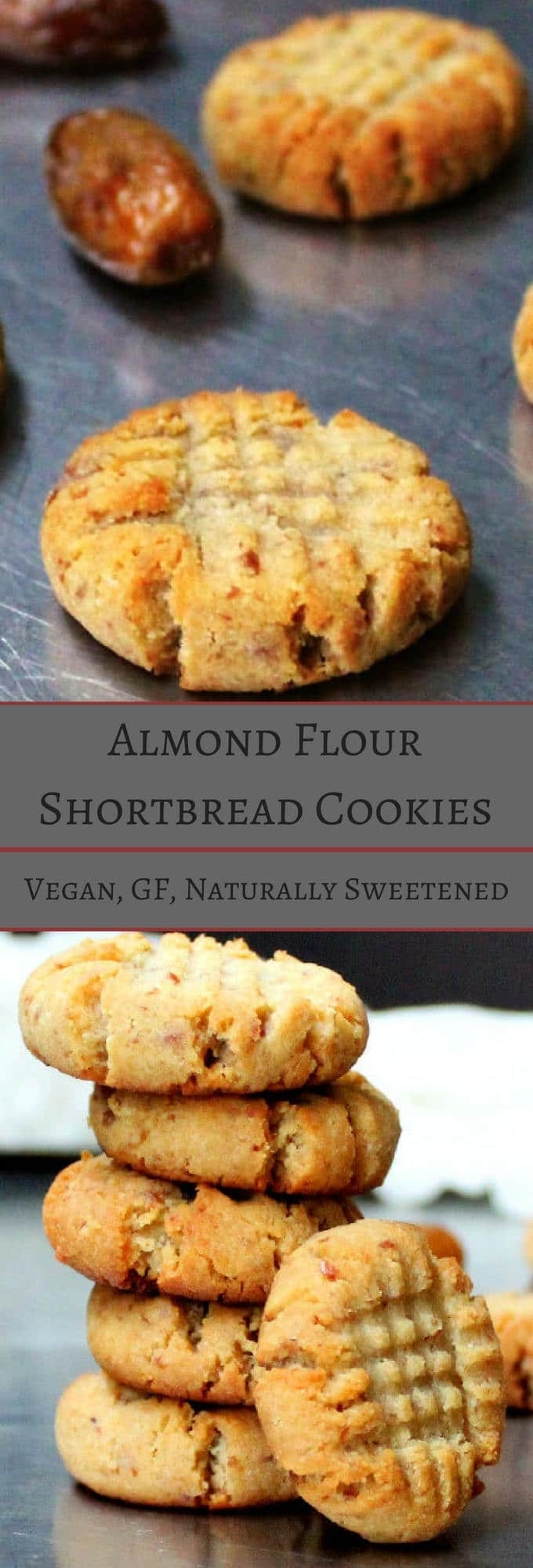 Vegan Almond Flour Shortbread Cookies, naturally sweetened and gluten free - holycowvegan.net