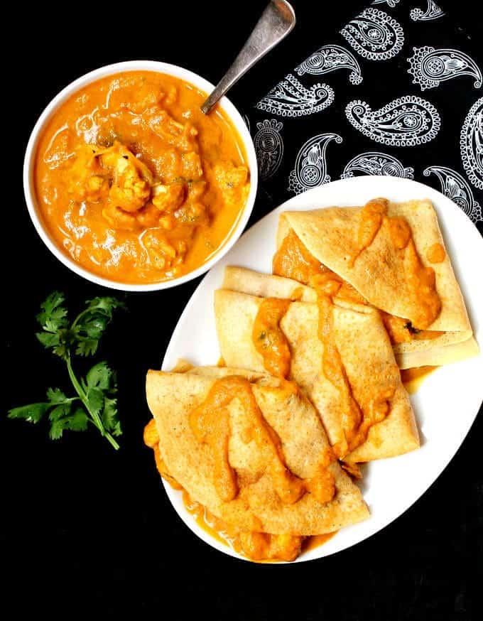 Cauliflower Makhani with Dosa Crepes - holycowvegan.net