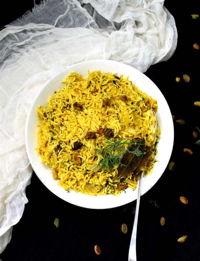 Dill Turmeric Pilaf with Pistachios - HolyCowVegan.net
