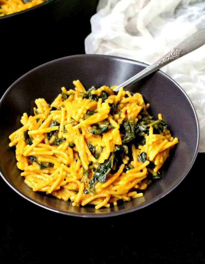 One Pot Curried Spaghetti with Kale - holycowvegan.net
