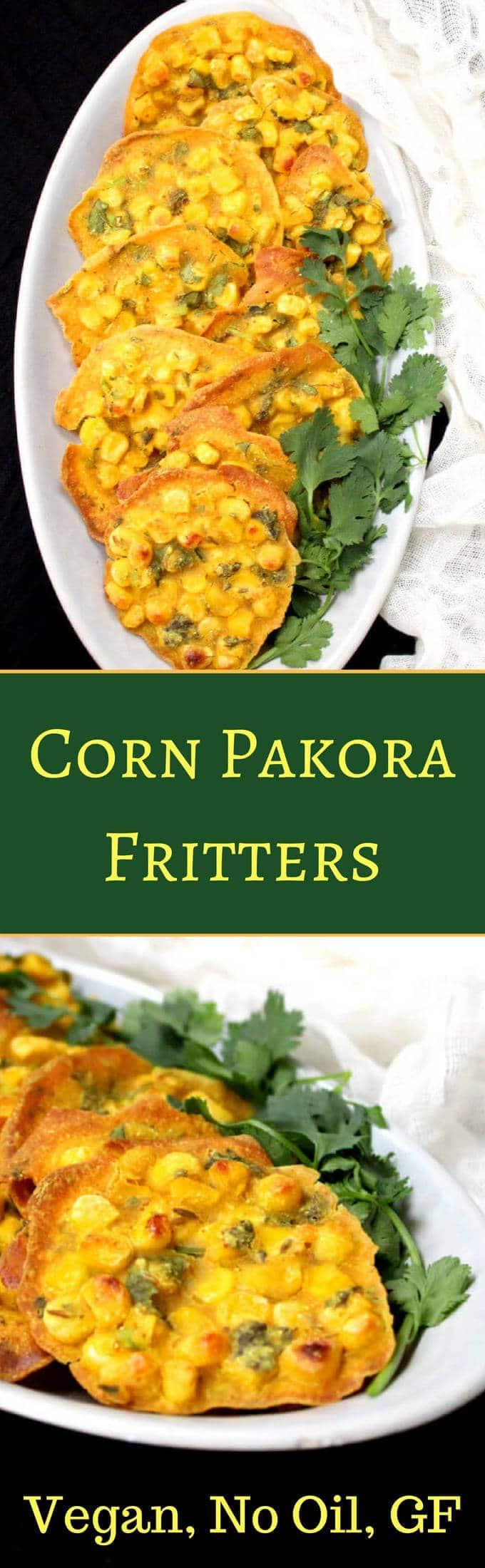 Corn Pakora Fritters, vegan, gluten-free, nut-free and soy-free. Holycowvegan.net