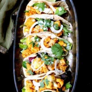 Cauliflower Tempeh Masala Tacos