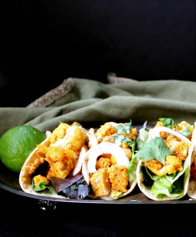 Cauliflower Tempeh Masala Tacos, vegan, nut-free - holycowvegan.net