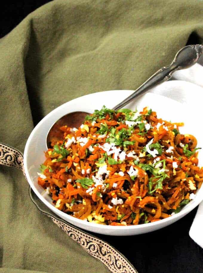 Golden Beet Carrot Slaw, Indian Style - holycowvegan.net