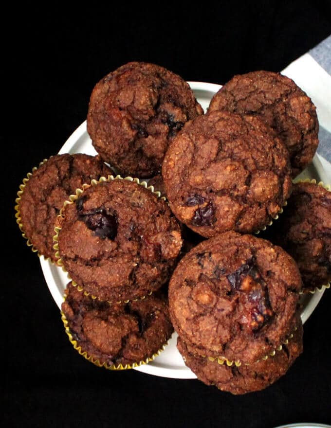 Vegan Chocolate Cherry Muffins with Aquafaba, No Oil, Wholegrain, Naturally Sweetened - holycowvegan.net