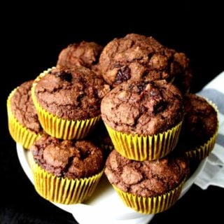 Chocolate Cherry Muffins (with Aquafaba).  Wholegrain, No Oil, Naturally Sweetened