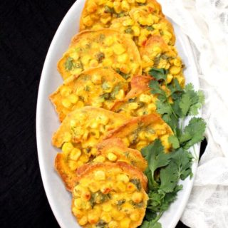 Corn Pakora Fritters, Baked, No Oil