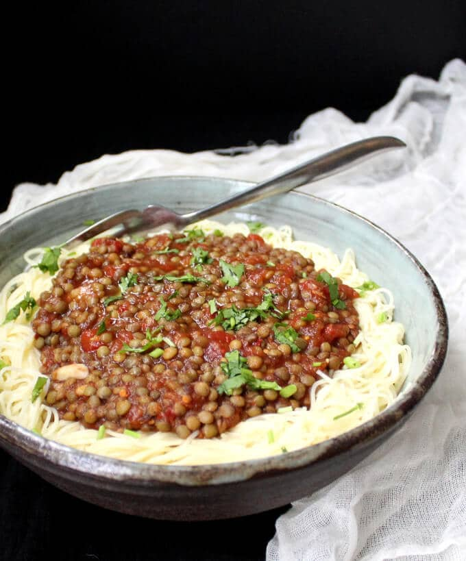 Vegan Lentil Marinara with French Lentils. GF, oil-free, nut-free and soy-free. HolyCowVegan.net