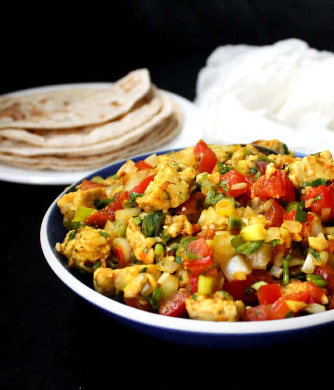 Nepalese Tempeh Choila, a fresh salad of veggies and broiled tempeh, Nepalese style - holycowvegan.net