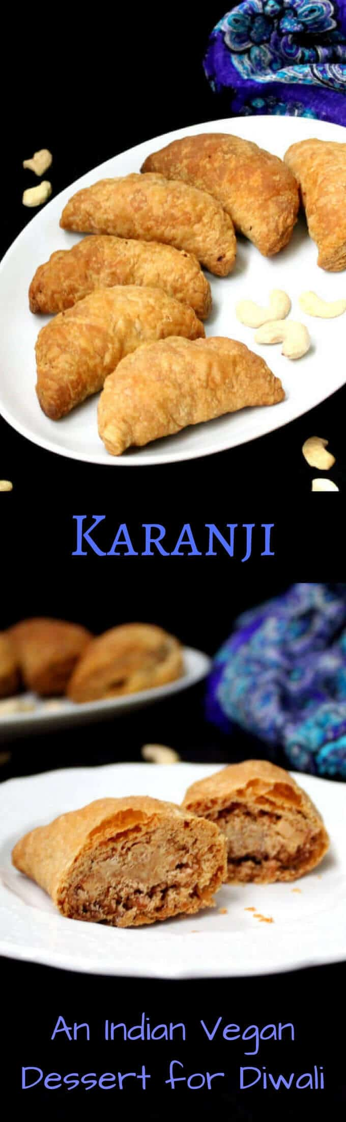 Karanji, an Indian vegan sweet for Diwali - HolyCowVegan.net