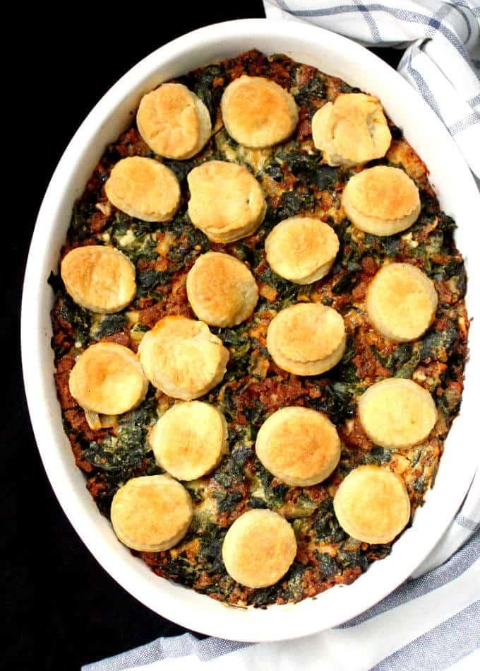 Vegan Savory Spinach Potato Breakfast Cobbler - holycowvegan.net