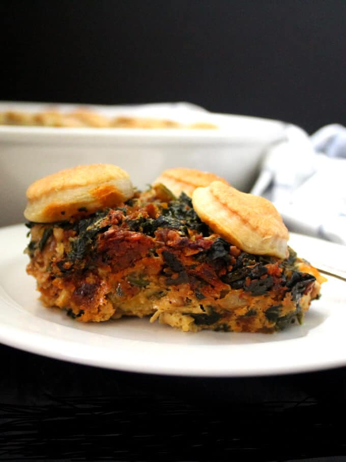 Vegan Savory Spinach Potato Breakfast Cobbler - holycowvegan.net