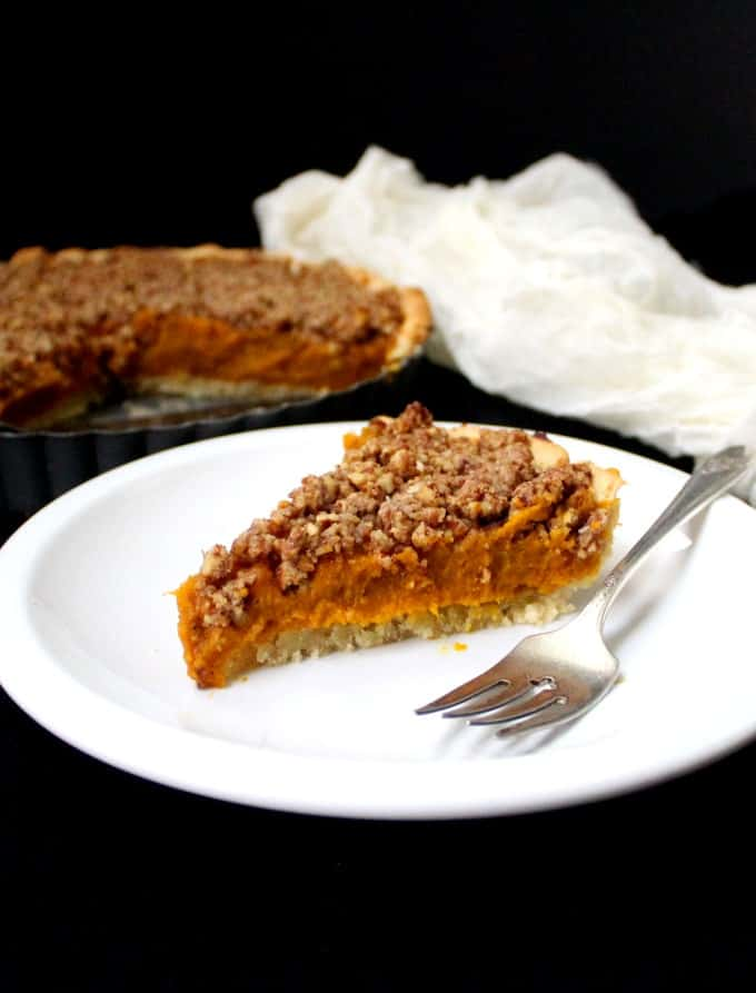 Vegan Pumpkin Praline Tart, gluten-free with no added fats. HolyCowVegan.net