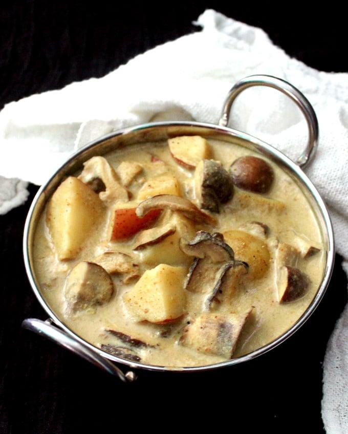 Instant Pot Mushroom Potato Korma - HolyCowVegan.net