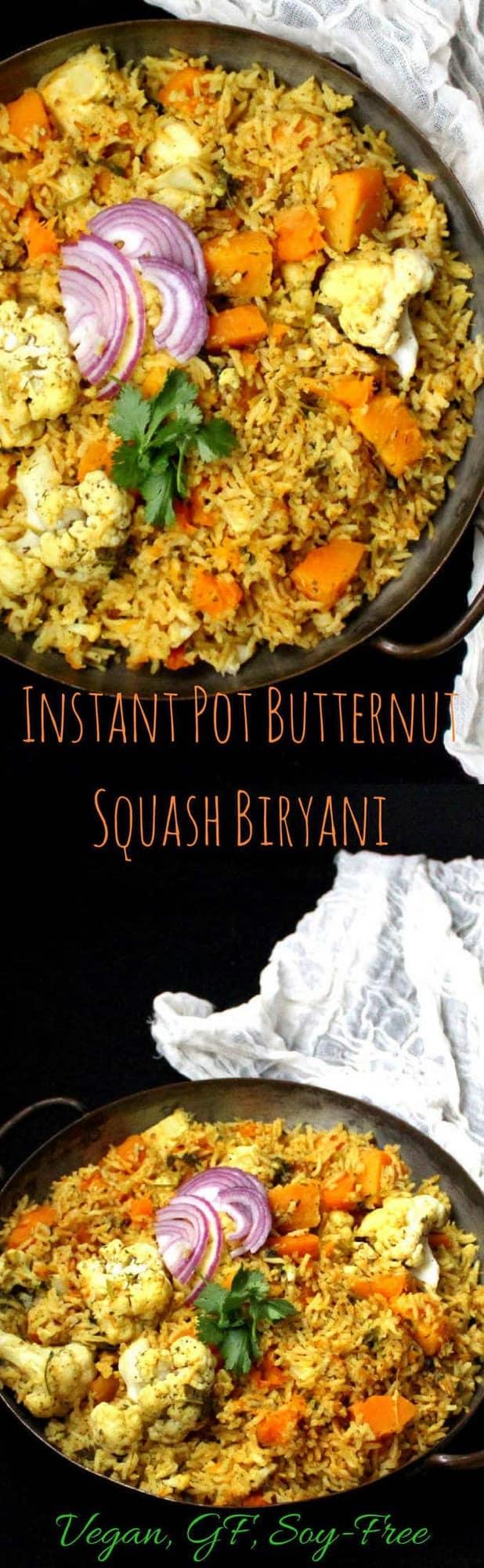 Instant Pot Butternut Squash Biryani - HolyCowVegan.net