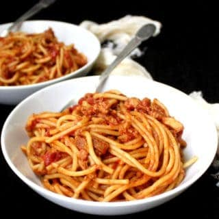 Instant Pot Spaghetti with 'Meaty' Marinara.  From scratch, one pot, under 30 minutes