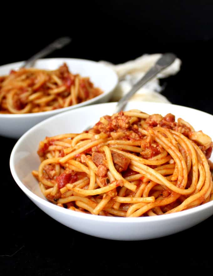 Instant Pot Vegan Spaghetti with Meaty Marinara - holycowvegan.net